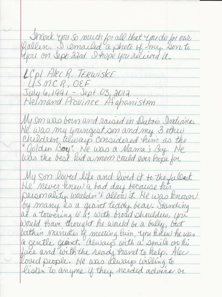 Sandy Terwiske Letter 1