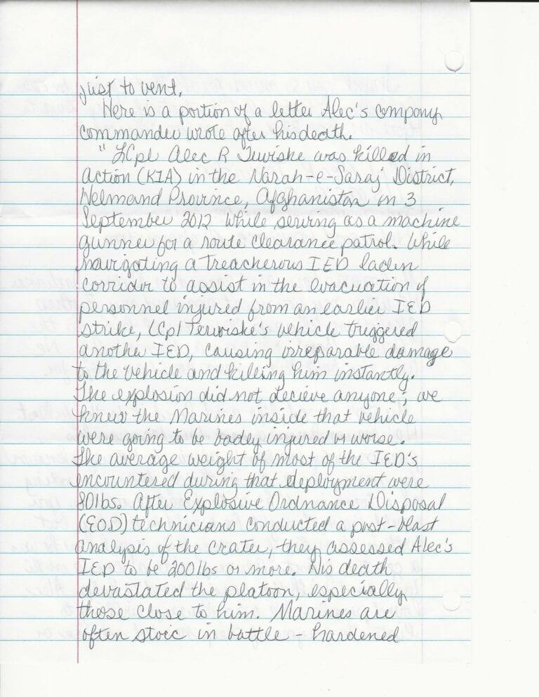 Sandy Terwiske Letter 2