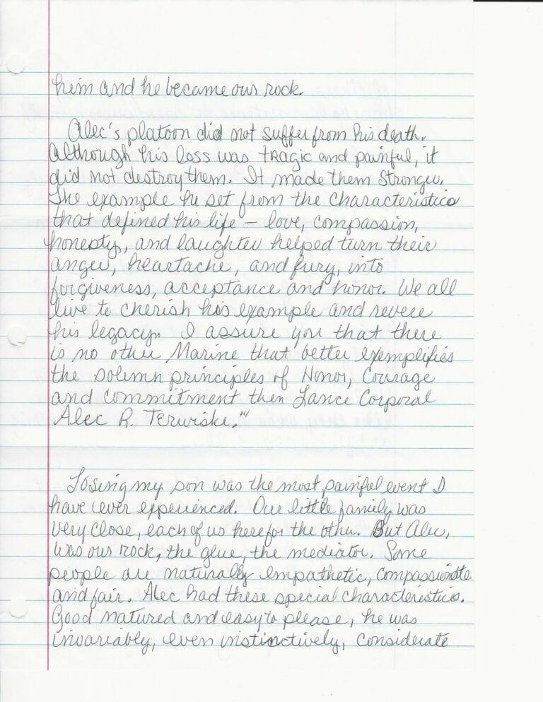 Sandy Terwiske Letter 5