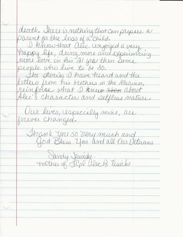 Sandy Terwiske Letter 7